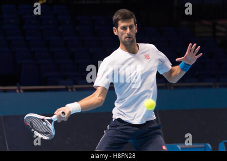 London, UK. 11th Nov, 2016. Novak Djokovic (SRB) have practice during the media day of the ATP World Tour Finals - Stock Photo