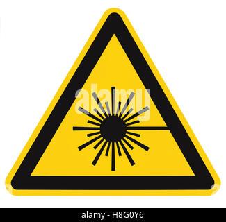 Laser radiation hazard safety danger warning text sign sticker label high power beam icon signage isolated black - Stock Photo