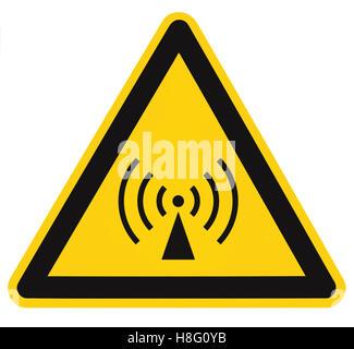 Non-ionizing radiation hazard safety area, danger warning sign sticker label, large icon signage, isolated black - Stock Photo
