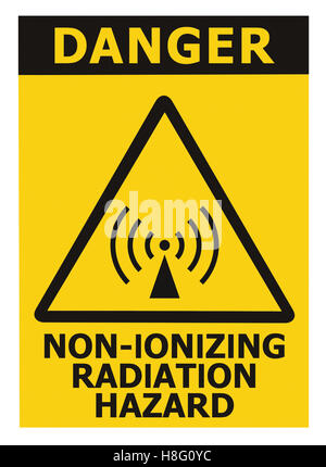 Non-ionizing radiation hazard safety area, danger warning text sign sticker label, large icon signage, isolated - Stock Photo