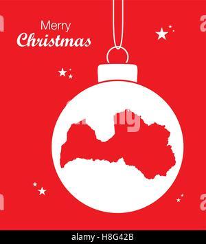 Merry Christmas Map Latvia - Stock Photo
