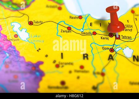 Close up of map of tehran capital city of iran stock photo tehran iran map stock photo gumiabroncs Choice Image