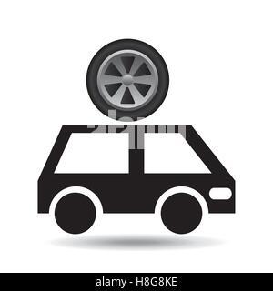 cartoon van car wheel icon design vector illustration eps 10 - Stock Photo