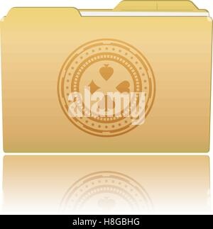 Vector illustration. Folder with Casino Chip. Vector illustration Eps 10 - Stock Photo