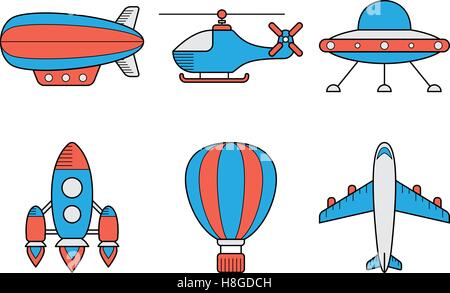 Icon set of aero vehicles. Helicopter plane UFO dirigible aerostat rocket. Line Style - Stock Photo