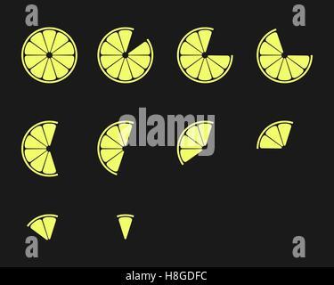 Citrus slices. Orange, lemon, lime and grapefruit slices vector icons set - Stock Photo