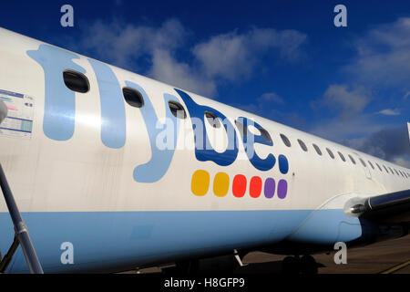 Flybe  airplane on the tarmac at Cardiff Airport,  Wales UK  KATHY DEWITT - Stock Photo