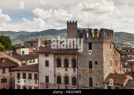 The rooftops of Piazza Grande, Arezzo, Italy. - Stock Photo