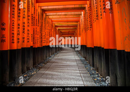 Walkway in Fushimi Inari shrine in Kyoto, Japan - Stock Photo