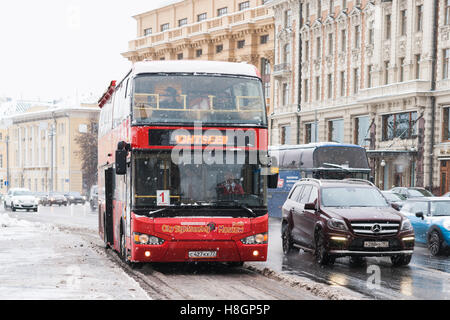 Moscow, Russia. 12th November, 2016. Early winter in Moscow. No sun, cloudy. Light frost up to -5 degrees Centigrade - Stock Photo