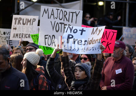New York, USA. 12th Nov, 2016. 'Trump is not my Presidnet' rally in New York City. Credit:  Christopher Penler/Alamy - Stock Photo
