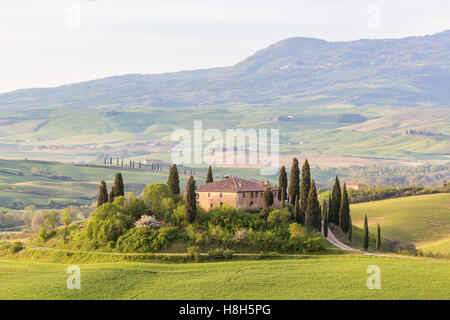 Villa on a hill in the rural landscape of Tuscany in Italy - Stock Photo