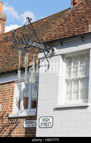 Restaurant sign, Fat Duck Restaurant, High Street, Bray, Berkshire, England, United Kingdom - Stock Photo