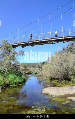 Apsley River Flowing under Pedestrian Bridge Crossing. Walcha NSW Australia