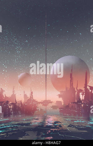 aerial view of sci-fi city with futuristic buildings on an alien planet,illustration painting - Stock Photo