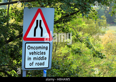 Warning sign of oncoming Vehicles in middle of road - Stock Photo