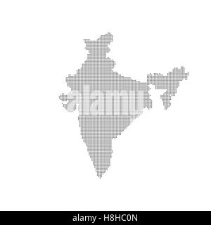 Grey Map India In The Dot . Vector illustration - Stock Photo