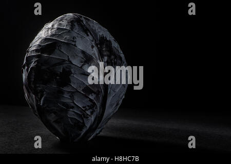 Red cabbage on a black background - Stock Photo