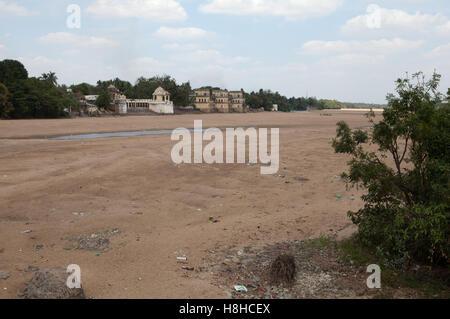 dry river bed in Tamil Nadu, India - Stock Photo