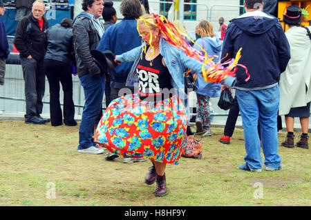 London, UK, 17 September 2016, Jeremy Corbyn supporter with T shirt dancing. - Stock Photo