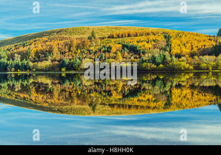 Reflections in the Pontsticill Reservoir in the Brecon Beacons National Park, south Wales Stock Photo
