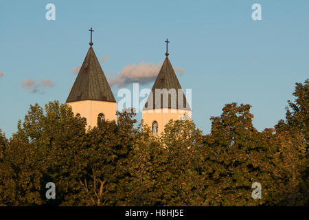 Twin steeples of a catholic church erecting behind trees in sunset - Stock Photo
