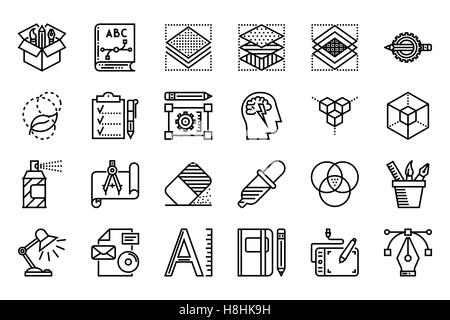 Graphic Design Thin Line Related Icons Set on White Background. Simple Mono Linear Pictogram Pack Stroke Vector - Stock Photo