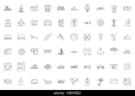 Travel Thin Line Related Icons Set on White Background. Summer Holidays, Vacation and Travel. Simple Mono Linear - Stock Photo