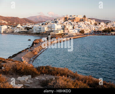 View of Naxos town from the Temple of Apollo at sunset. Naxos island in the Greek Cyclades Islands - Stock Photo