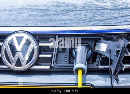 Amsterdam, the Netherlands - November 8, 2016: electric hybrid vehicle plug in charger - Stock Photo