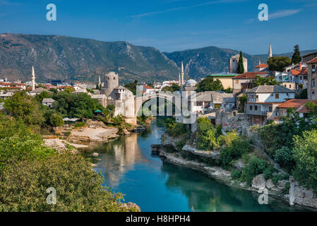 Old Town over Neretva in Mostar, Bosnia and Herzegovina - Stock Photo