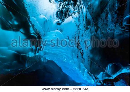 Mendenhall Ice Caves, Mendenhall Glacier, Juneau, Alaska USA. - Stock Photo