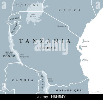 Africa tanzania zanzibar map atlas map of the world travel tanzania political map with capital dodoma national borders islands zanzibar pemba and neighbor gumiabroncs Choice Image
