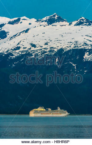 Princess Cruises ship Coral Princess sailing the Lynn Canal, the deeprest fjord in North America,  between Haines - Stock Photo
