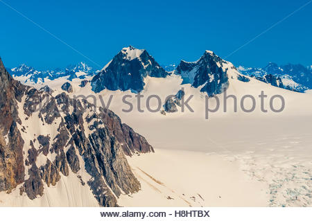 Aerial view of the Juneau Icefield, which is the fifth-largest ice field in the Western Hemisphere. Juneau, Alaska - Stock Photo