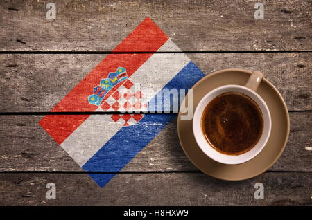 Croatia flag with coffee on table. top view - Stock Photo