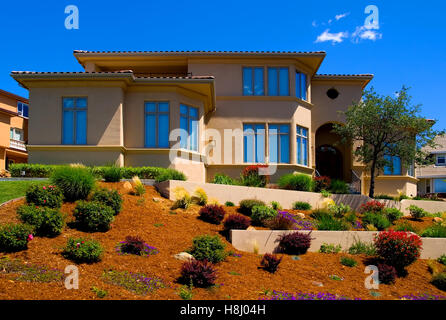 Big new house on the hill - Stock Photo
