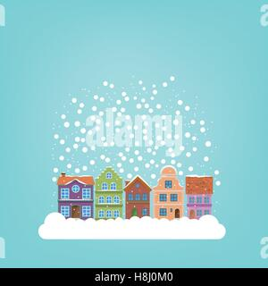 Snow falling on winter village, background template for use in seasonal greetings - Stock Photo