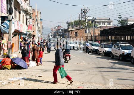 Street scene outside  Swayambunath Stupa Monkey Temple Nepal, Kathmandu, - Stock Photo