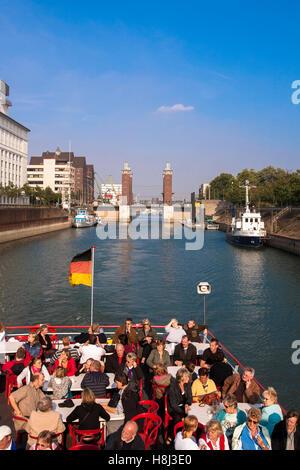 Germany, Ruhr area, Duisburg, harbor tour, the Schwanentor bridge at the Innenhafen harbor. - Stock Photo