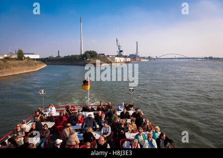 Germany, Ruhr area, Duisburg, harbor tour, excursion boat, opening of the Aussenhafen harbor to the river Rhine. - Stock Photo