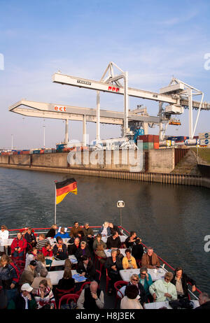 Germany,  Ruhr area, Duisburg, harbor tour, container habor. - Stock Photo