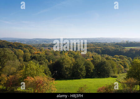 Germany,  Ruhr Area, Bochum, view from the Ruhr University Bochum to the valley of the river Ruhr. - Stock Photo
