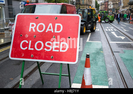 Roadworks signs in Manchester city centre, UK - Stock Photo