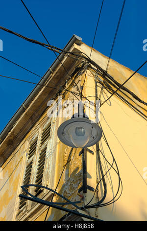 Street Lamp and Wires on Old House