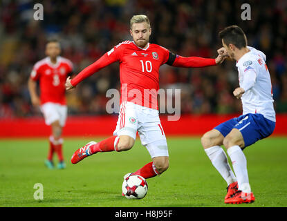 Wales' Aaron Ramsey in action during the 2018 FIFA World Cup Qualifying, Group D match at the Cardiff City Stadium. - Stock Photo