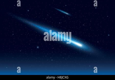 Vector illustration of two comet in the starry space sky. Elements are layered separately in vector file. - Stock Photo
