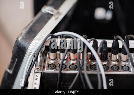 XLR audio digital connector plug in sound system. - Stock Photo