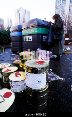 Toxic waste cans in a garbage collect center, Val de Marne, france - Stock Photo
