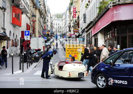 Rue des Martyrs turned in pedestrian street on sundays, Paris 18 th, France - Stock Photo